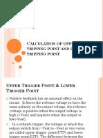 Calculation of upper and lower tripping point pf schmitt triger