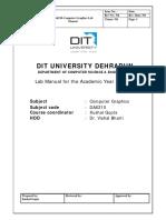 DA6210 Computer Graphics Lab Manual