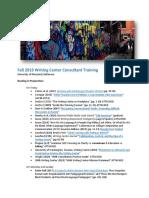 2019 Fall Consultant Training Agenda