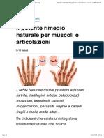 Il Potente Rimedio Naturale Per Muscoli e Articolazioni