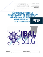 Sg-i-003 Instructivo Identificacion de Aspectos y Valoracion de Impactos Ambientales y de Sostenibilidad