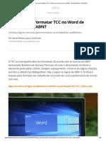 10 Dicas Para Formatar TCC No Word de Acordo Com a ABNT
