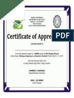 2019 Brigada Eskwela Certificate for Donor