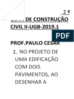 2ª LISTA DE CONSTRUÇÃO CIVIL II-UGB-2019.1