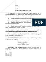 Affidavit of Personal Use - Lumber