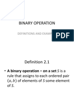 Binary Operation