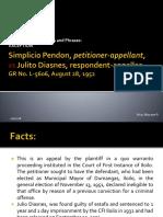 Pendon v Diasnes_exception