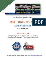 CSIR NET Life Sciences June 2011 Question Paper Key PDF