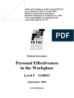 Personal Effectiveness in the Workplace