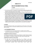 Programa de Fundamentos Del Fútbol (Anexo Nº 01)