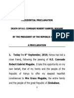 Presidential Proclamation - Passing on of President Mugabe