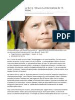 2019_SET. Greta Thunberg, Militante Ambientalista de 16 Anos Indicada Ao Nobel