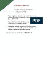 CPM Insumos Vuelo Presidencial 6 Julio 2018, 06sep19