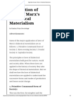 Application of Laws of Marx's Dialectical Materialism