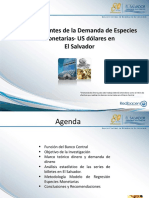 Determinantes de la Demanda de Especies  Monetarias* US dólares en   El Salvador / BCR, REDIBAREN