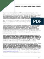 Adios Al Anclaje Del Bolivar a El Petro Notas Sobre Lo Dicho y Lo No Tanto