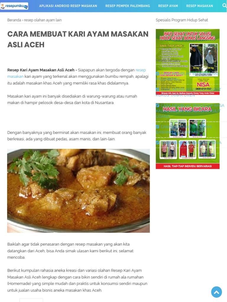 Cara Membuat Kari Ayam Masakan Asli Aceh Resep Masakan Indonesia Pdf