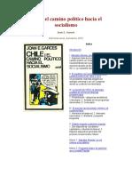 Chile El Camino Político Hacia El Socialismo Joan Garces 1972