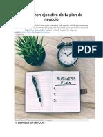 El Resumen Ejecutivo de Tu Plan de Negocio