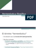 Hermenéutica filosófica - Introduccion