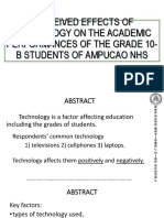 Perceived Effects of Technology on the Academic Performances