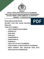 Amanat Apel Satgas Pamwil Asian Games 2018