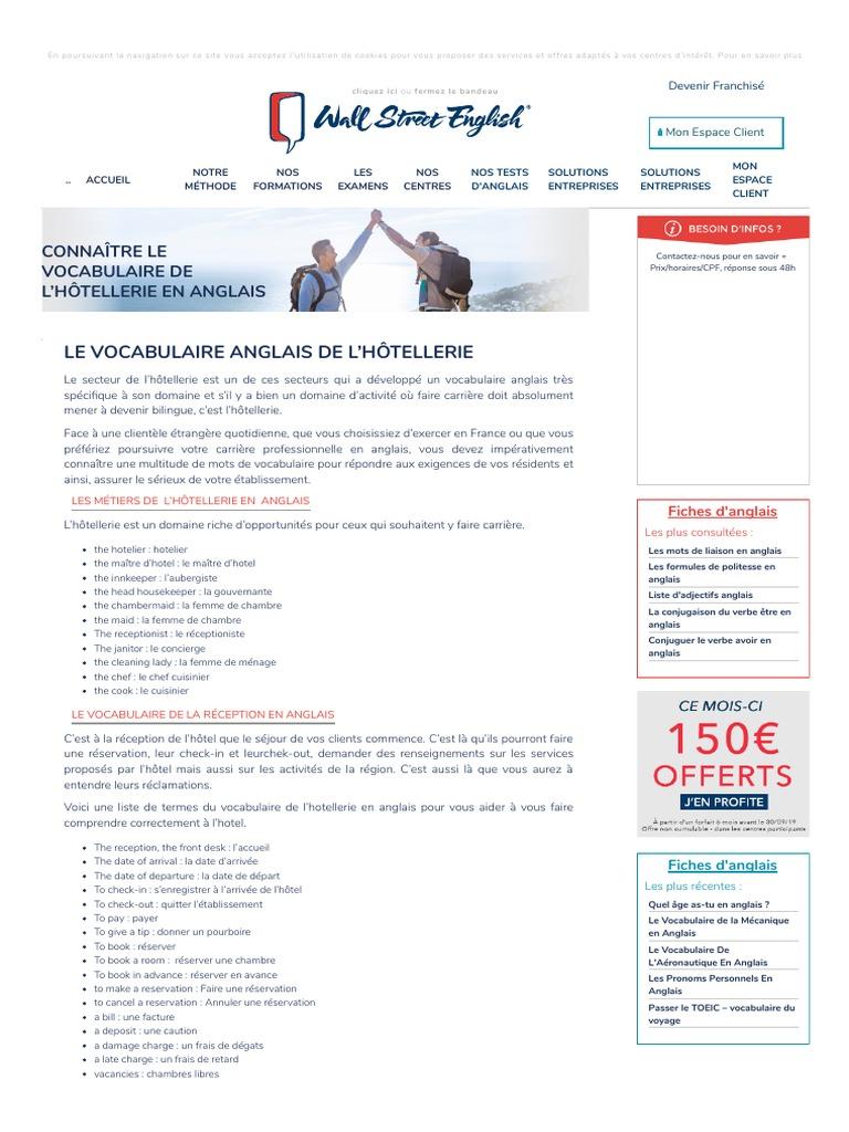 Le Vocabulaire De L Hotellerie Anglais Hotellerie Hotel