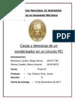 Caratula de Informe Fisica 3 Carga y Descarga de Condensador