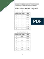 PT3 Reading Sample Test Key