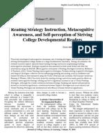 Reading Strategy Instruction Metacognitive Awarene