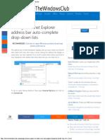 Manage Internet Explorer Address Bar Auto-complete Drop-down Lists