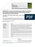 Randomized, controlled trial comparing the effects of anesthesia with propofol, isoflurane, desflurane and sevoflurane on pain after laparoscopic cholecystectomy