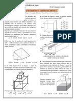 Lista de exercícios selecionados de Geometria espacial