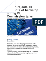 Britain Rejects All Elements of Backstop During EU Commission Talks