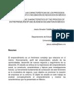 SÍNTESIS SOBRE LAS CARACTERÍSTICAS DE LOS PROCESOS DE EMPRENDIMIENTO E INCUBACIÓN DE NEGOCIOS EN MÉXICO