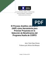 Proceso Analítico Jerárquico Como Herramienta Para La Selección de Beneficiarios Del Programa Huella de CORFO