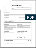 A2 Stage 1 Business Analysis Template S1BAForm