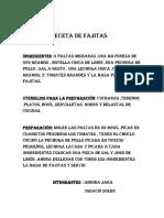 Receta de Fajitas
