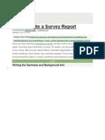 How to Write Survey Report