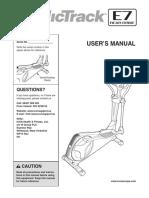 Nordic Track E7 Users Manual