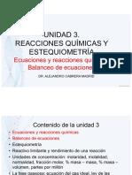 Unidad 3 REACCIONES QUIMICAS Y ESTEQUIOMETRIA1 - Ecuaciones y Balanceo de Ecuaciones