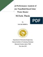 Heat transfer enhancement in solar water heaters by Nanofluids