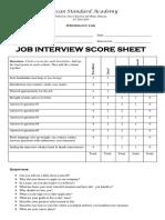 Job Interview Score Sheet
