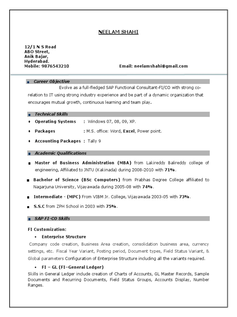 Sap fi consultant resume india functional resume sample for administrative assistant
