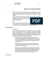 Barriers to Critical Thinking