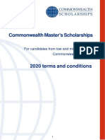 Terms Conditions Masters Scholarships 2020