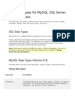 SQL Data Types for MySQL, SQL Server, And MS Access