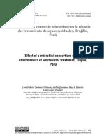 Efecto de Un Consorcio Microbiano en La Eficacia Del Tratamiento de Aguas Residuales, Trujillo, Perú