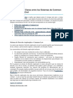 Características Claves Entre Los Sistemas de Common Law y Derecho Civil