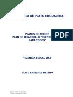 PLANES DE ACCIÓN MUNICIPIO DE PLATO  AÑO 2018